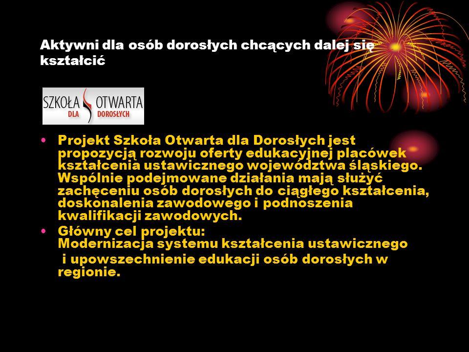 Aktywni dla osób dorosłych chcących dalej się kształcić Projekt Szkoła Otwarta dla Dorosłych jest propozycją rozwoju oferty edukacyjnej placówek kształcenia ustawicznego województwa śląskiego.
