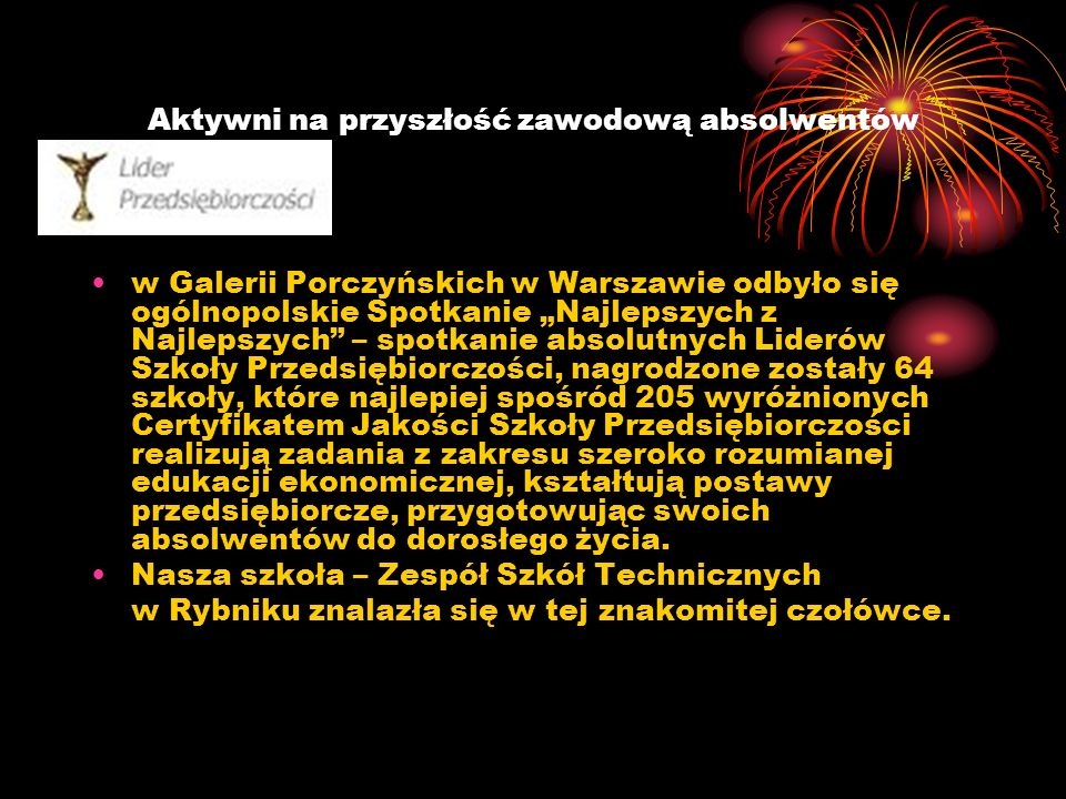 Aktywni na przyszłość zawodową absolwentów w Galerii Porczyńskich w Warszawie odbyło się ogólnopolskie Spotkanie Najlepszych z Najlepszych – spotkanie