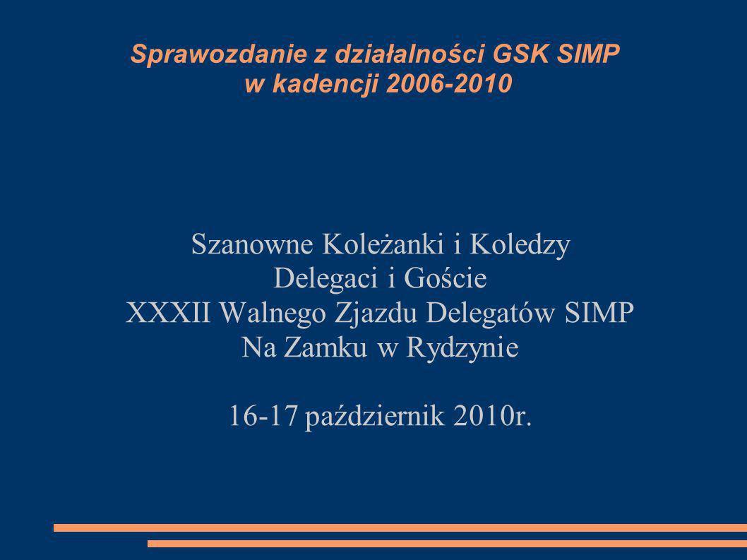 Sprawozdanie z działalności GSK SIMP w kadencji 2006-2010 Szanowne Koleżanki i Koledzy Delegaci i Goście XXXII Walnego Zjazdu Delegatów SIMP Na Zamku