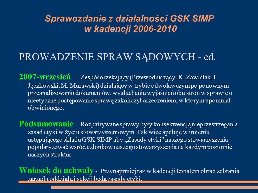Sprawozdanie z działalności GSK SIMP w kadencji 2006-2010 PROWADZENIE SPRAW SĄDOWYCH - cd. 2007-wrzesień – Zespół orzekający (Przewodniczący -K. Zawiś