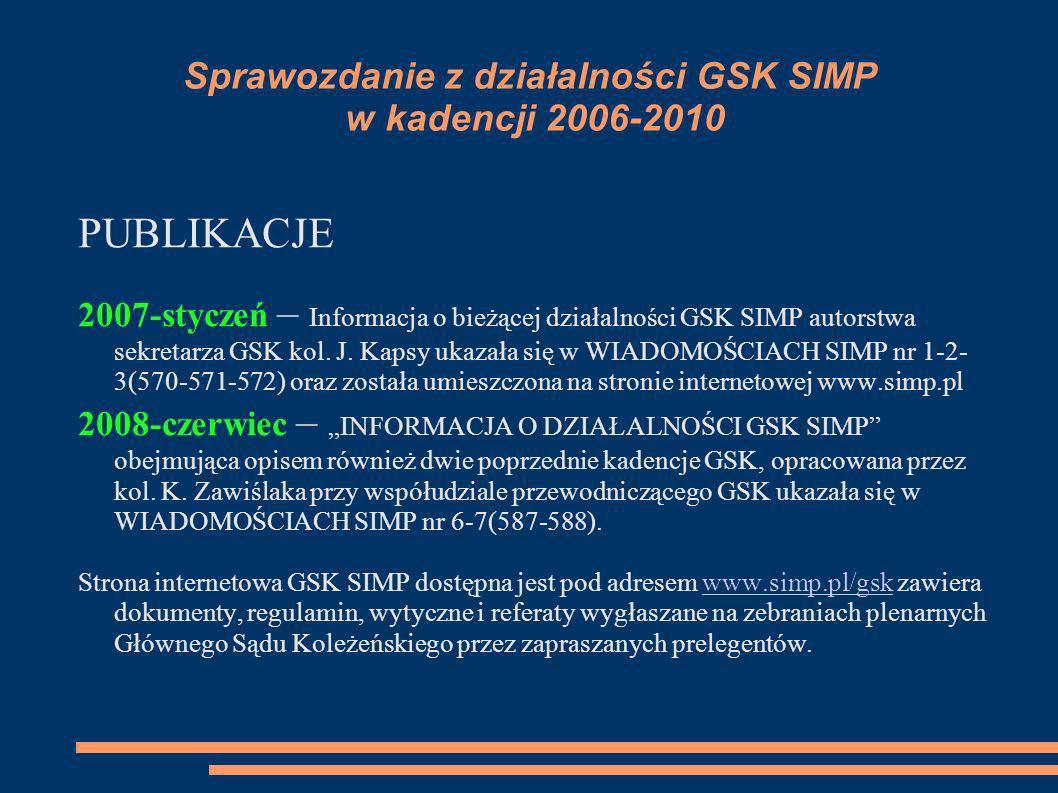 Sprawozdanie z działalności GSK SIMP w kadencji 2006-2010 PUBLIKACJE 2007-styczeń – Informacja o bieżącej działalności GSK SIMP autorstwa sekretarza G