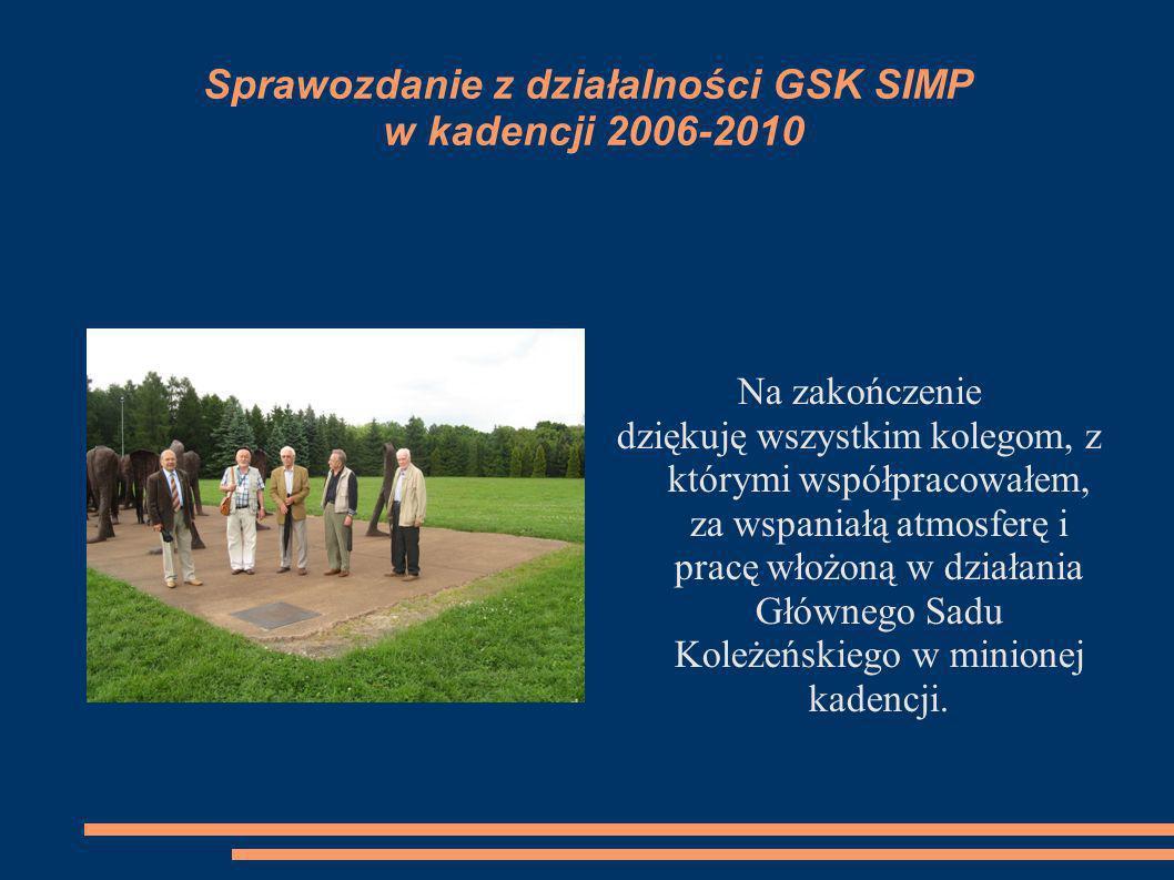 Sprawozdanie z działalności GSK SIMP w kadencji 2006-2010 Na zakończenie dziękuję wszystkim kolegom, z którymi współpracowałem, za wspaniałą atmosferę