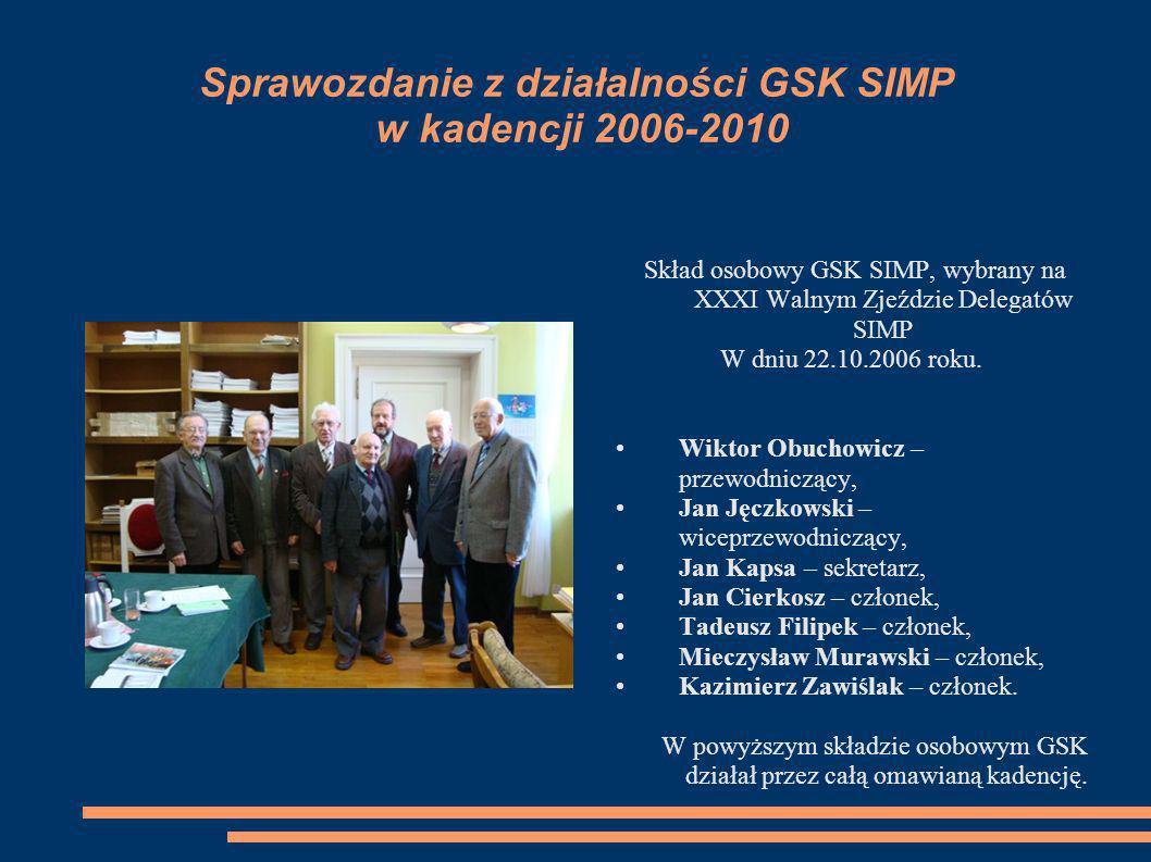 Sprawozdanie z działalności GSK SIMP w kadencji 2006-2010 Skład osobowy GSK SIMP, wybrany na XXXI Walnym Zjeździe Delegatów SIMP W dniu 22.10.2006 rok