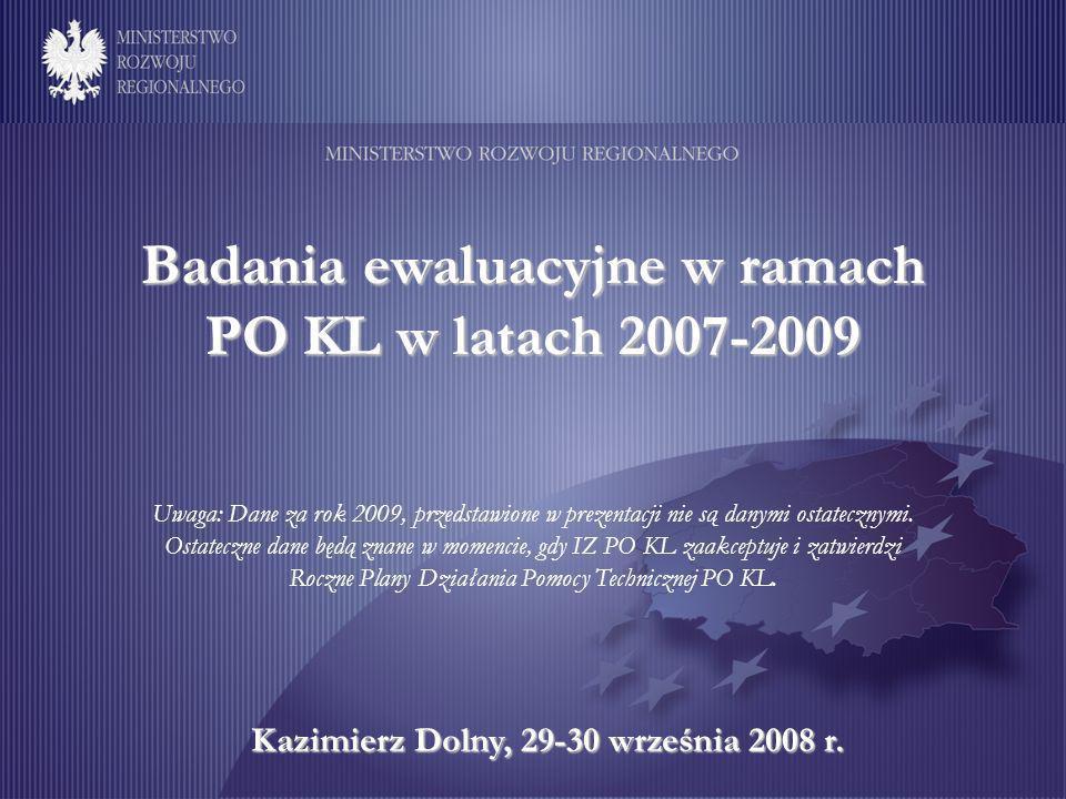 Badania ewaluacyjne w ramach PO KL w latach 2007-2009 Kazimierz Dolny, 29-30 września 2008 r.
