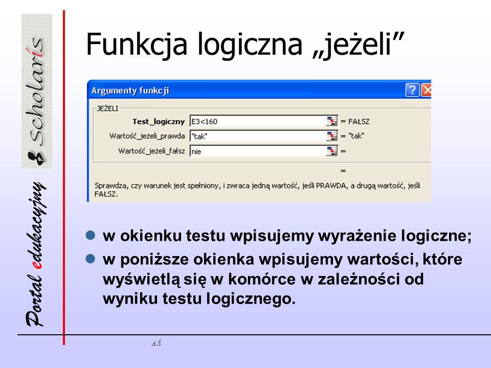 Portal edukacyjny A.Ś. Funkcja logiczna jeżeli w okienku testu wpisujemy wyrażenie logiczne; w poniższe okienka wpisujemy wartości, które wyświetlą si