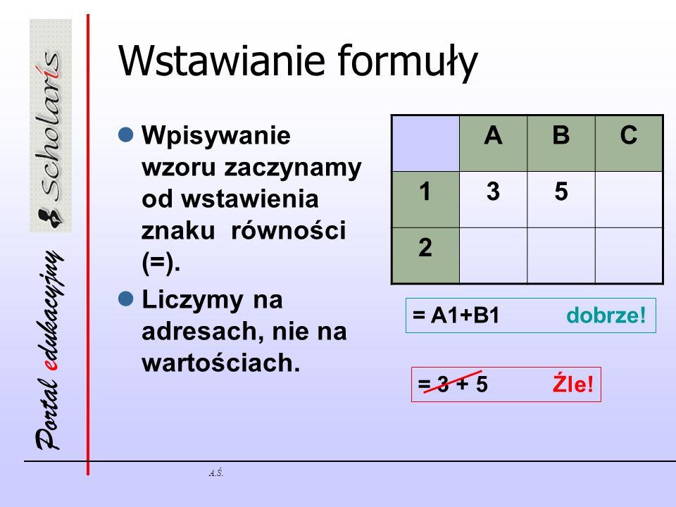 Portal edukacyjny A.Ś. Wstawianie formuły Wpisywanie wzoru zaczynamy od wstawienia znaku równości (=). Liczymy na adresach, nie na wartościach. ABC 13