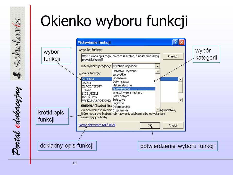 Portal edukacyjny A.Ś. Okienko wyboru funkcji wybór kategorii wybór funkcji krótki opis funkcji potwierdzenie wyboru funkcji dokładny opis funkcji