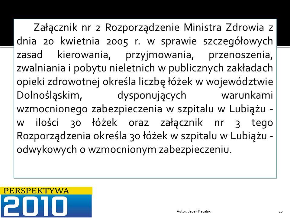 Autor: Jacek Kacalak10 Załącznik nr 2 Rozporządzenie Ministra Zdrowia z dnia 20 kwietnia 2005 r. w sprawie szczegółowych zasad kierowania, przyjmowani