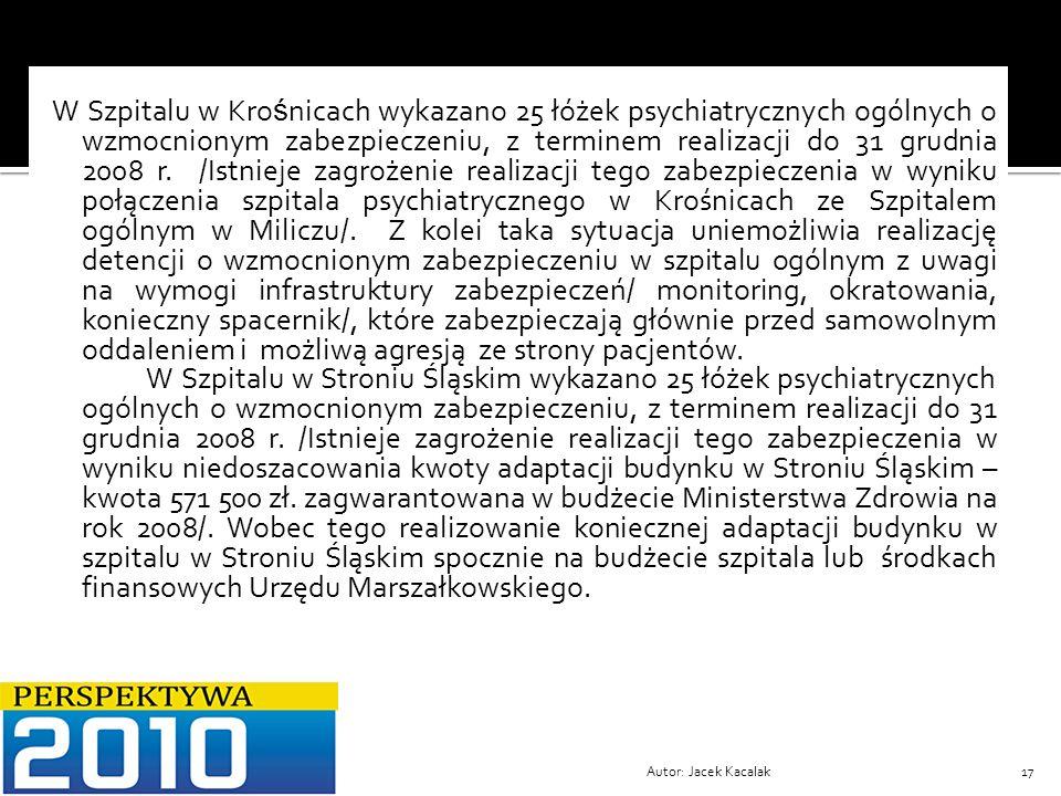 Autor: Jacek Kacalak17 W Szpitalu w Kro ś nicach wykazano 25 łóżek psychiatrycznych ogólnych o wzmocnionym zabezpieczeniu, z terminem realizacji do 31