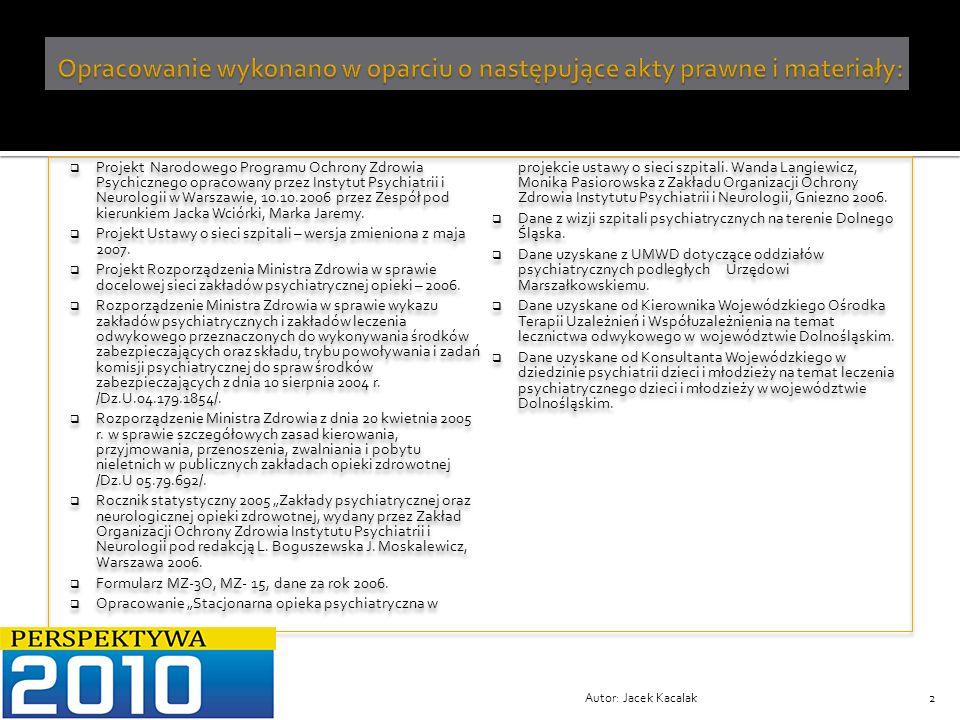 Autor: Jacek Kacalak13 Wykaz niedoboru łóżek psychiatrycznych i nadmiaru łóżek opiekuńczo-leczniczych w województwie dolnośląskim