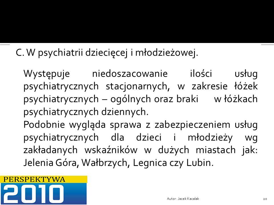 Autor: Jacek Kacalak20 C. W psychiatrii dziecięcej i młodzieżowej. Występuje niedoszacowanie ilości usług psychiatrycznych stacjonarnych, w zakresie ł