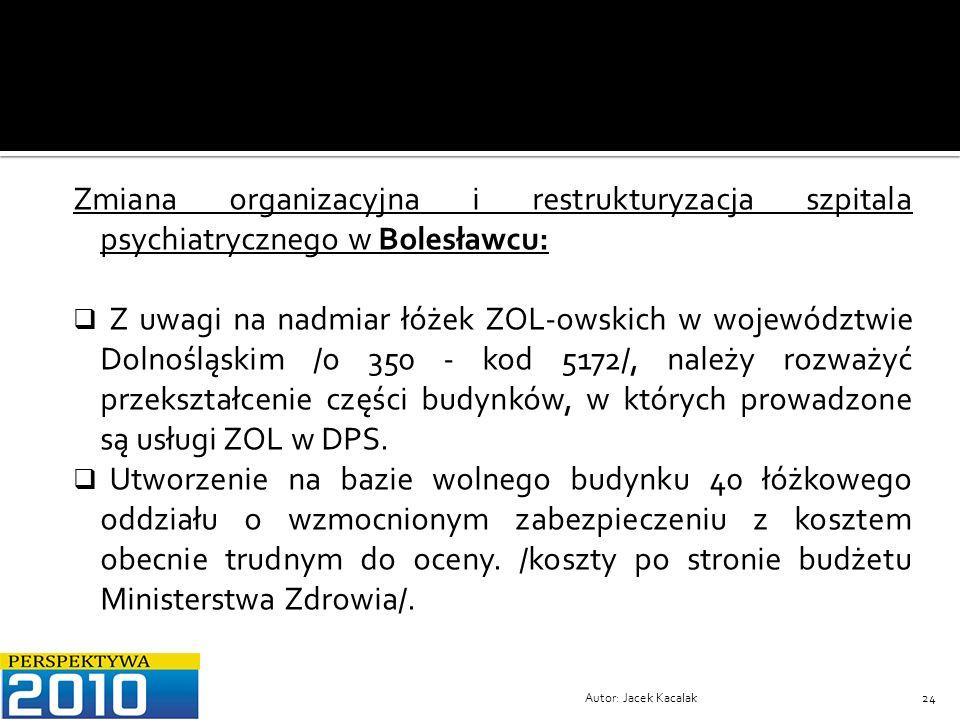 Autor: Jacek Kacalak24 Zmiana organizacyjna i restrukturyzacja szpitala psychiatrycznego w Bolesławcu: Z uwagi na nadmiar łóżek ZOL-owskich w wojewódz