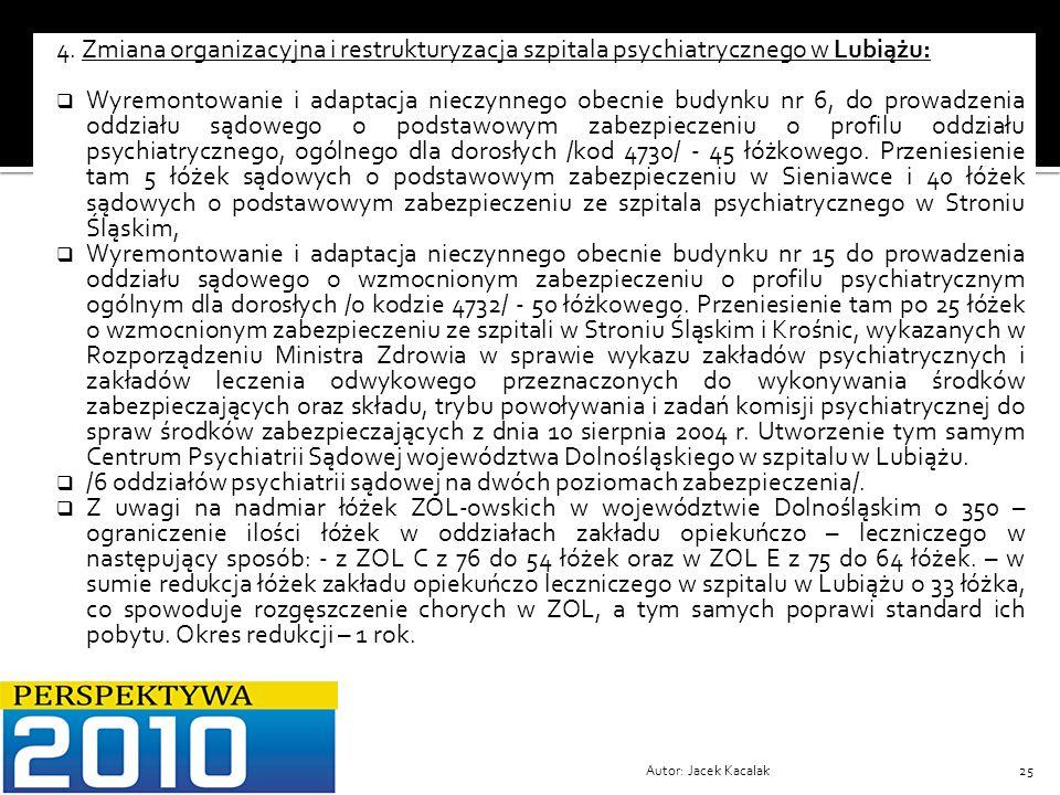 Autor: Jacek Kacalak25 4. Zmiana organizacyjna i restrukturyzacja szpitala psychiatrycznego w Lubiążu: Wyremontowanie i adaptacja nieczynnego obecnie