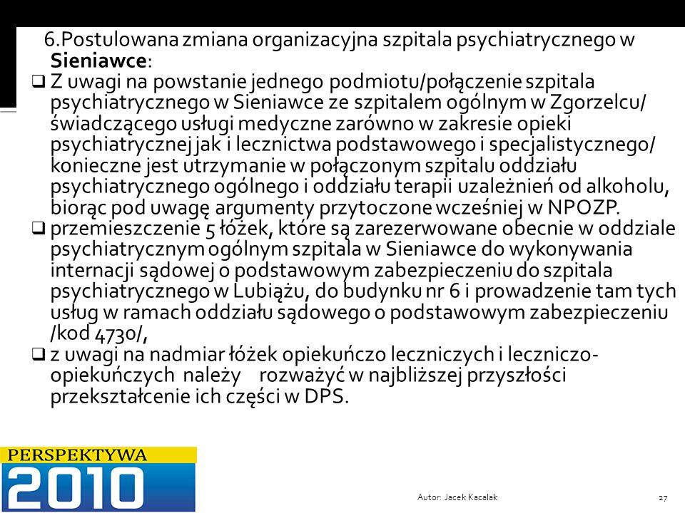 Autor: Jacek Kacalak27 6.Postulowana zmiana organizacyjna szpitala psychiatrycznego w Sieniawce: Z uwagi na powstanie jednego podmiotu/połączenie szpi