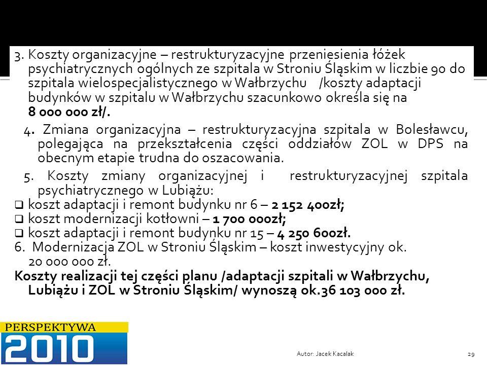 Autor: Jacek Kacalak29 3. Koszty organizacyjne – restrukturyzacyjne przeniesienia łóżek psychiatrycznych ogólnych ze szpitala w Stroniu Śląskim w licz