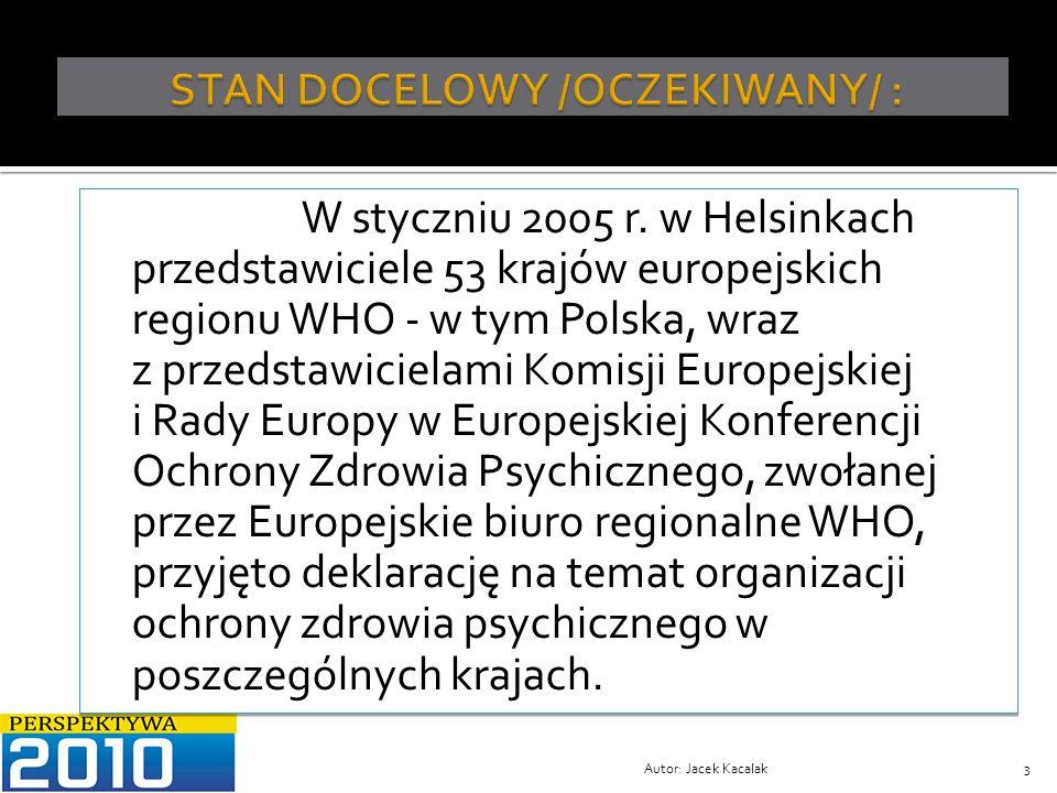 Konsekwencją dalszych działań ze strony Polski – a zwłaszcza Instytutu Psychiatrii i Neurologii w Warszawie, było opracowanie projektu Narodowego Programu Ochrony Zdrowia Psychicznego /NPOZP/, przez zespół pod kierunkiem Jacka Wciórki i Marka Jaremy, Warszawa 10.10.2006, zwanym dalej NPOZP.