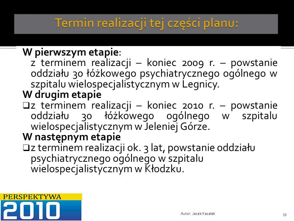W pierwszym etapie: z terminem realizacji – koniec 2009 r. – powstanie oddziału 30 łóżkowego psychiatrycznego ogólnego w szpitalu wielospecjalistyczny
