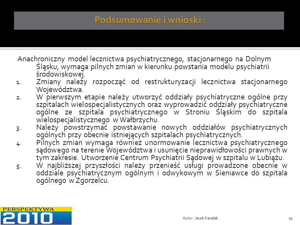 Autor: Jacek Kacalak35 Anachroniczny model lecznictwa psychiatrycznego, stacjonarnego na Dolnym Śląsku, wymaga pilnych zmian w kierunku powstania mode