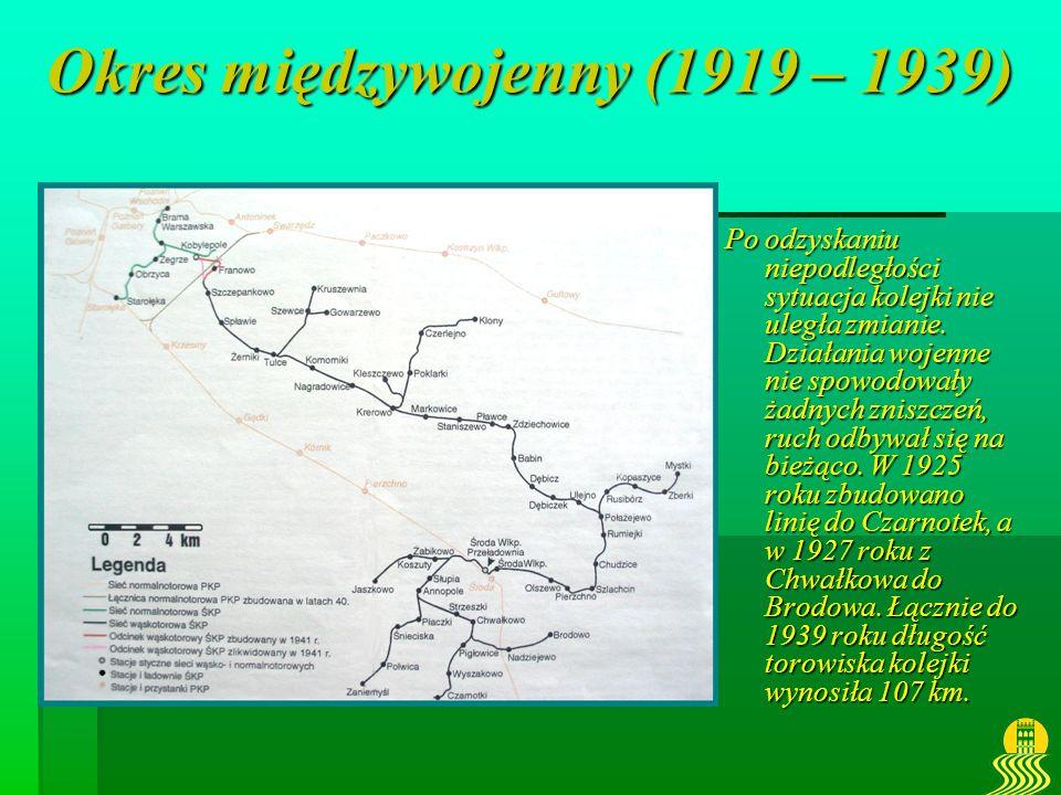 Okres międzywojenny (1919 – 1939) Po odzyskaniu niepodległości sytuacja kolejki nie uległa zmianie. Działania wojenne nie spowodowały żadnych zniszcze