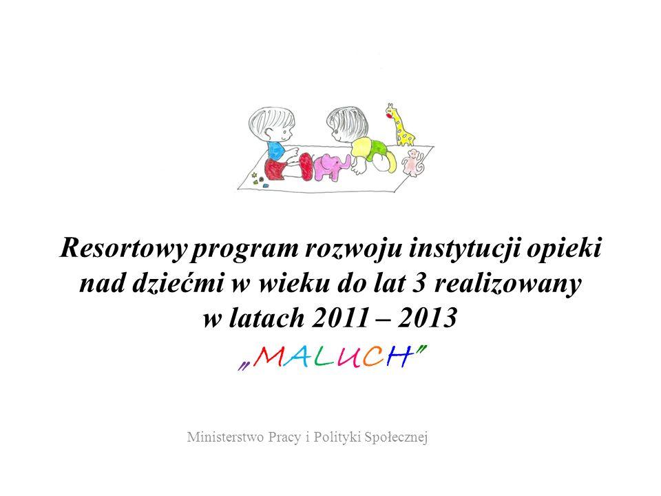 Resortowy program rozwoju instytucji opieki nad dziećmi w wieku do lat 3 realizowany w latach 2011 – 2013MALUCH Ministerstwo Pracy i Polityki Społecznej