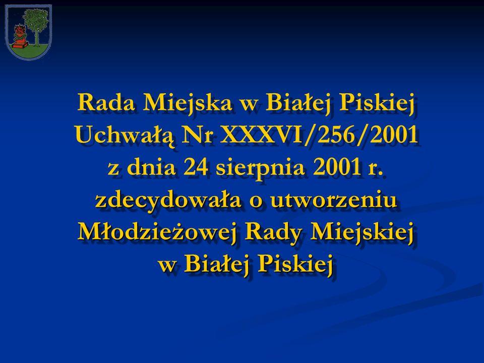 zdecydowała o utworzeniu Młodzieżowej Rady Miejskiej w Białej Piskiej Rada Miejska w Białej Piskiej Uchwałą Nr XXXVI/256/2001 z dnia 24 sierpnia 2001 r.