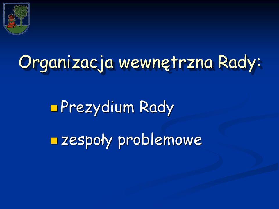 Organizacja wewnętrzna Rady: Prezydium Rady Prezydium Rady zespoły problemowe zespoły problemowe