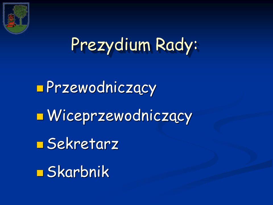 Prezydium Rady: Przewodniczący Przewodniczący Wiceprzewodniczący Wiceprzewodniczący Sekretarz Sekretarz Skarbnik Skarbnik