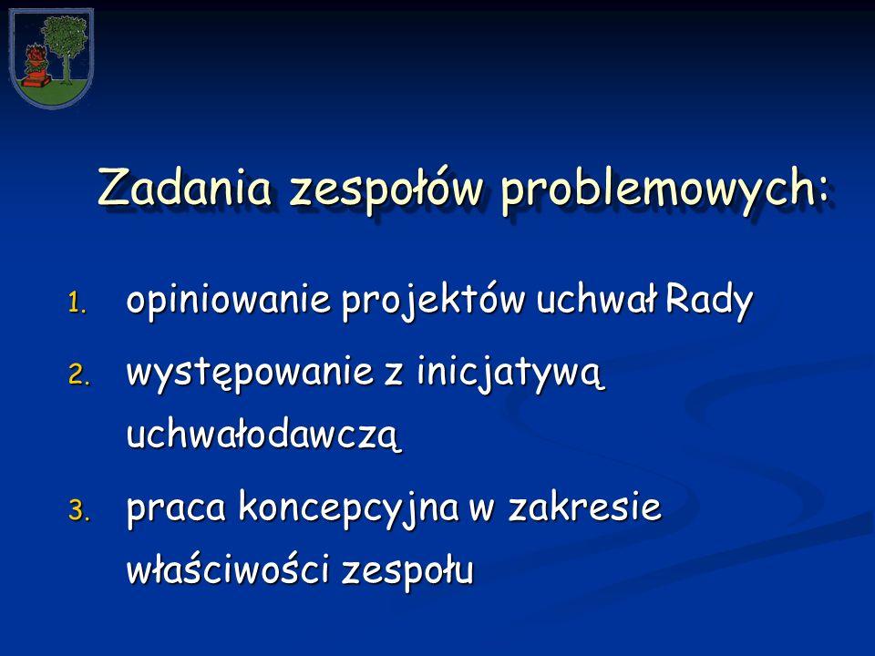 Zadania zespołów problemowych: Zadania zespołów problemowych: 1.