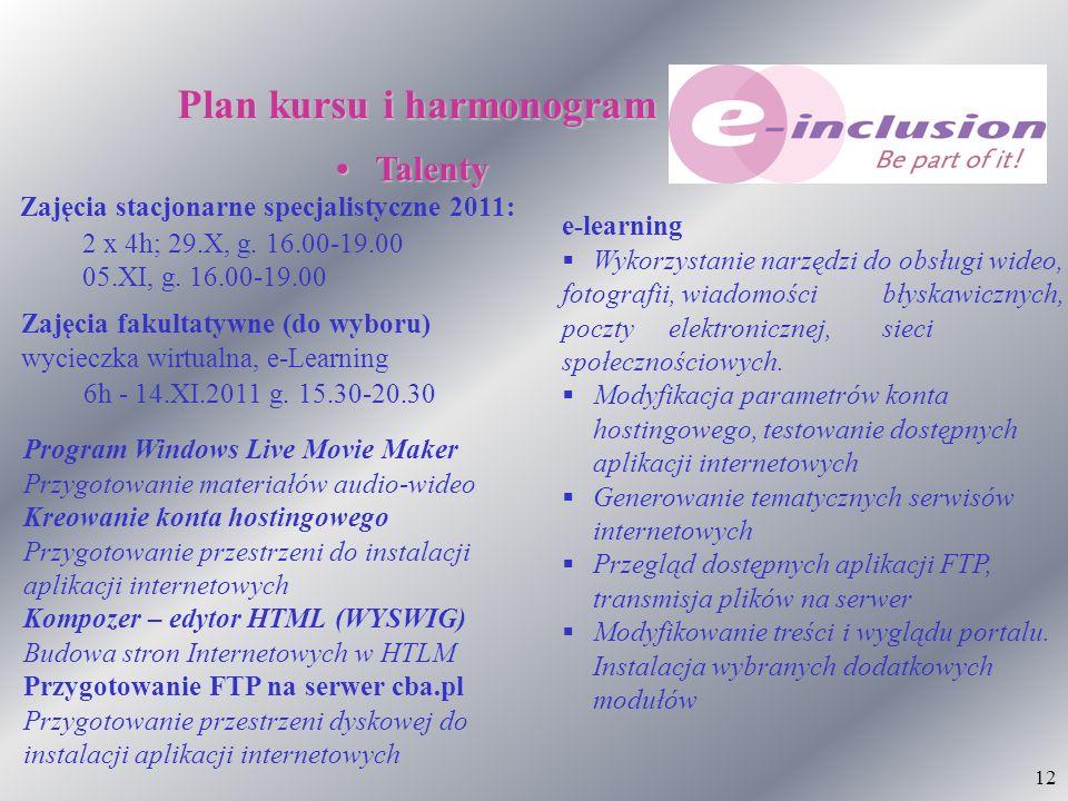 12 Plan kursu i harmonogram Talenty Talenty 2 x 4h; 29.X, g. 16.00-19.00 05.XI, g. 16.00-19.00 Zajęcia stacjonarne specjalistyczne 2011: Zajęcia fakul