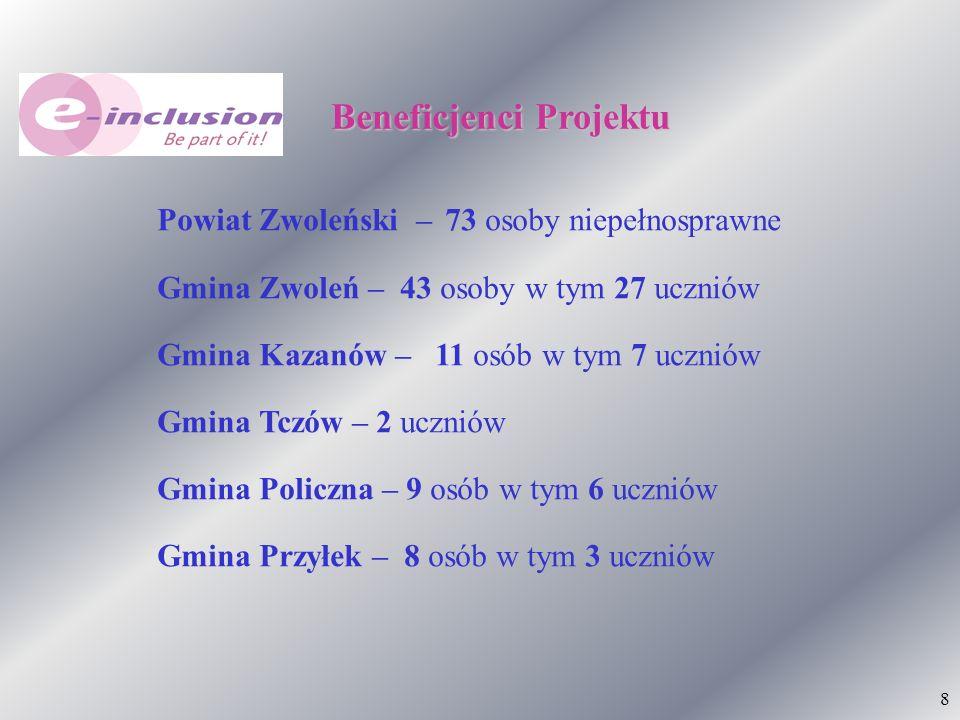 8 Beneficjenci Projektu Powiat Zwoleński – 73 osoby niepełnosprawne Gmina Zwoleń – 43 osoby w tym 27 uczniów Gmina Kazanów – 11 osób w tym 7 uczniów G