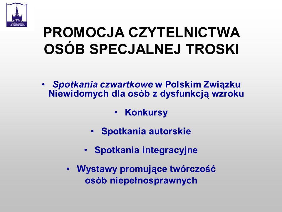 PROMOCJA CZYTELNICTWA OSÓB SPECJALNEJ TROSKI Spotkania czwartkowe w Polskim Związku Niewidomych dla osób z dysfunkcją wzroku Konkursy Spotkania autors