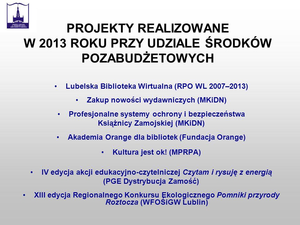 PROJEKTY REALIZOWANE W 2013 ROKU PRZY UDZIALE ŚRODKÓW POZABUDŻETOWYCH Lubelska Biblioteka Wirtualna (RPO WL 2007–2013) Zakup nowości wydawniczych (MKi