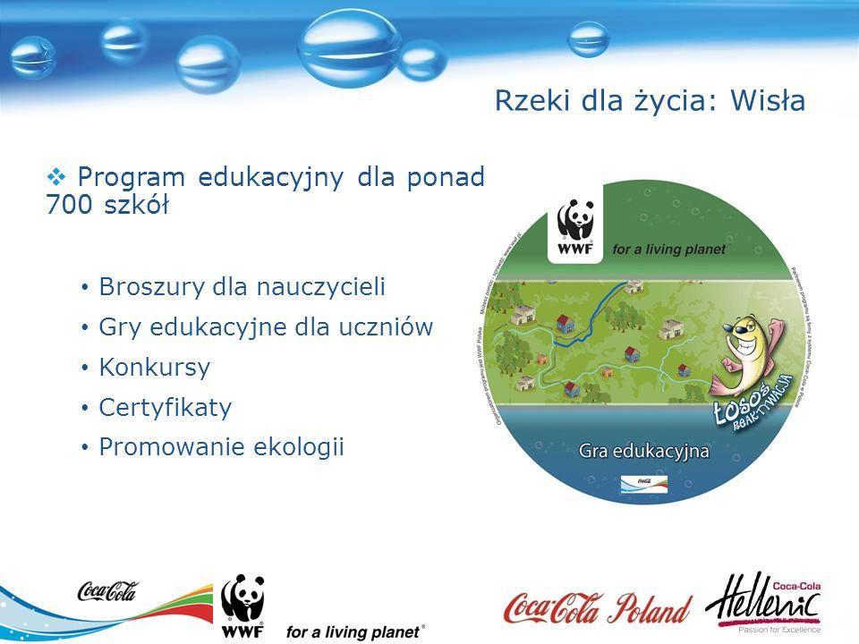 Broszury dla nauczycieli Gry edukacyjne dla uczniów Konkursy Certyfikaty Promowanie ekologii Program edukacyjny dla ponad 700 szkół Rzeki dla życia: Wisła