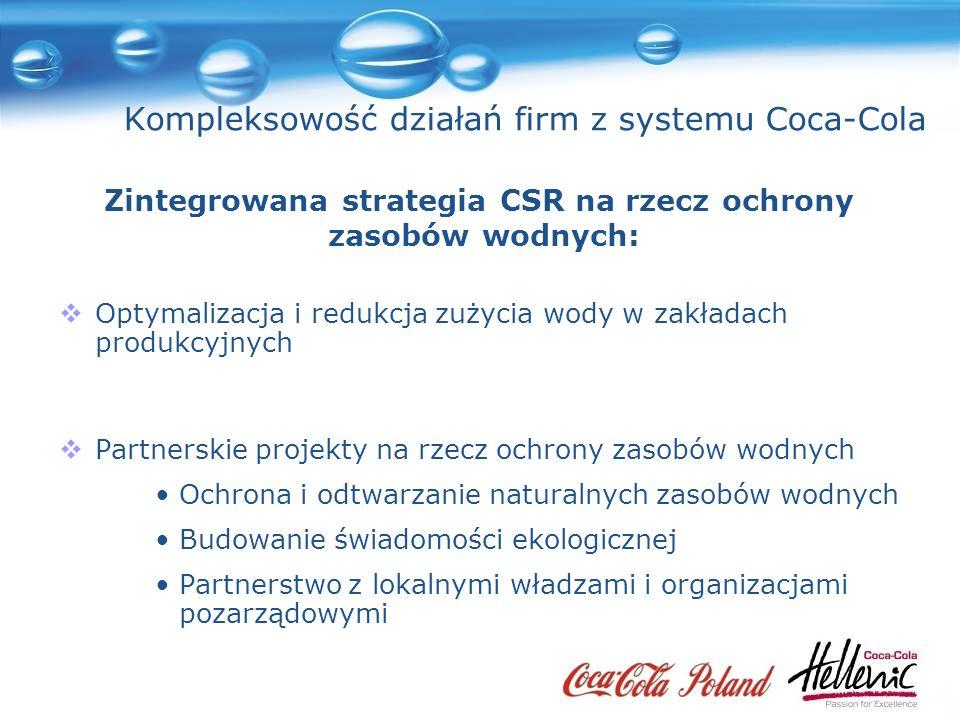 Kompleksowość działań firm z systemu Coca-Cola Optymalizacja i redukcja zużycia wody w zakładach produkcyjnych Partnerskie projekty na rzecz ochrony zasobów wodnych Ochrona i odtwarzanie naturalnych zasobów wodnych Budowanie świadomości ekologicznej Partnerstwo z lokalnymi władzami i organizacjami pozarządowymi Zintegrowana strategia CSR na rzecz ochrony zasobów wodnych: