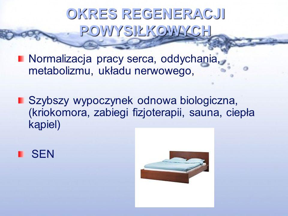 OKRES REGENERACJI POWYSIŁKOWYCH Normalizacja pracy serca, oddychania, metabolizmu, układu nerwowego, Szybszy wypoczynek odnowa biologiczna, (kriokomora, zabiegi fizjoterapii, sauna, ciepła kąpiel) SEN