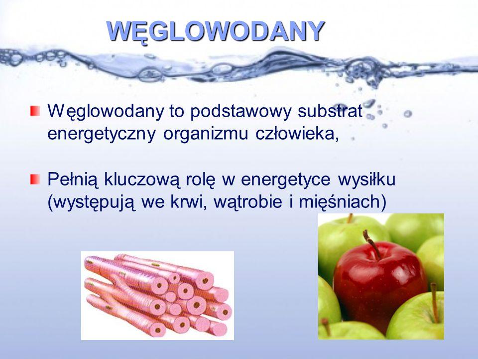 WĘGLOWODANY Węglowodany to podstawowy substrat energetyczny organizmu człowieka, Pełnią kluczową rolę w energetyce wysiłku (występują we krwi, wątrobie i mięśniach)
