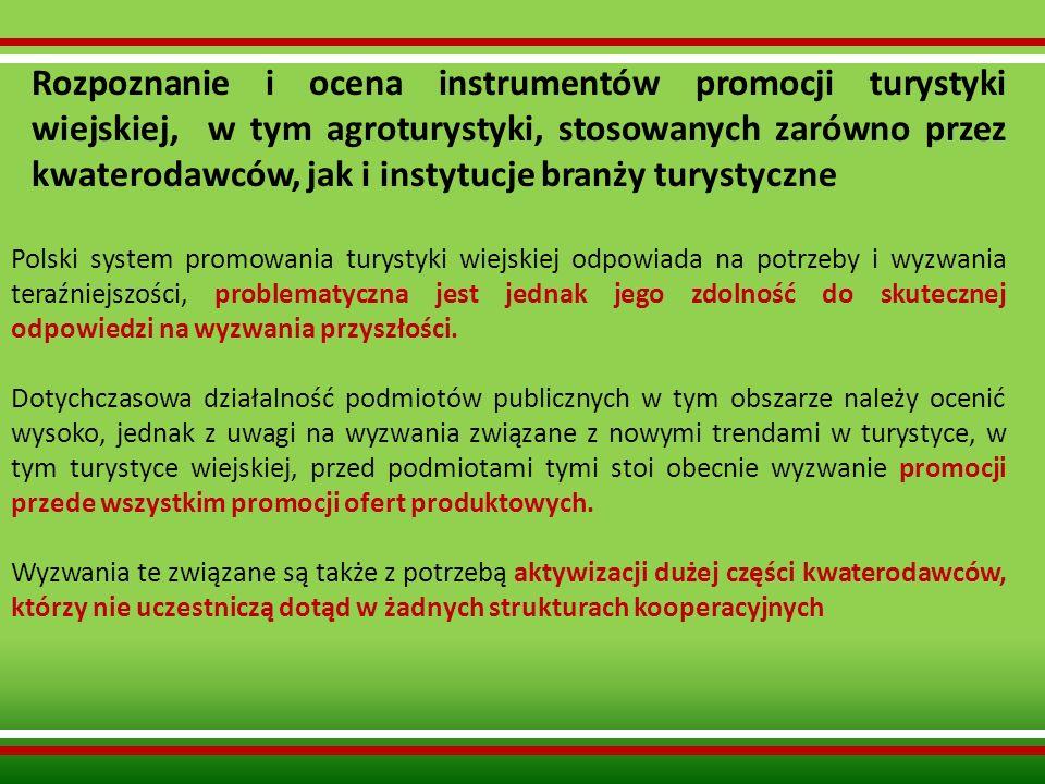 Rozpoznanie i ocena instrumentów promocji turystyki wiejskiej, w tym agroturystyki, stosowanych zarówno przez kwaterodawców, jak i instytucje branży t