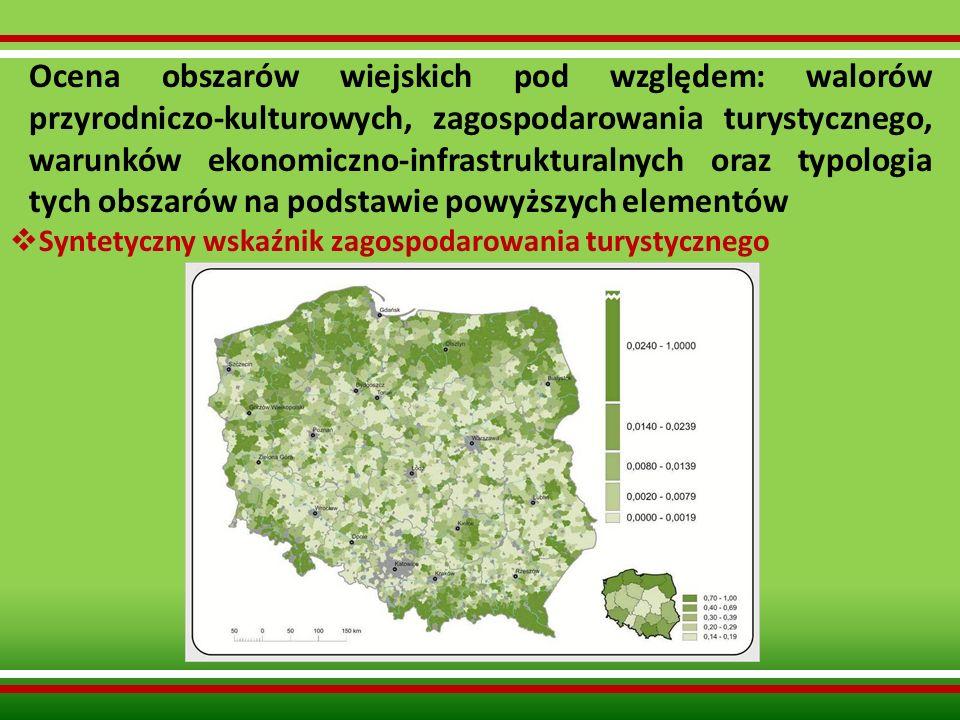Ocena obszarów wiejskich pod względem: walorów przyrodniczo-kulturowych, zagospodarowania turystycznego, warunków ekonomiczno-infrastrukturalnych oraz