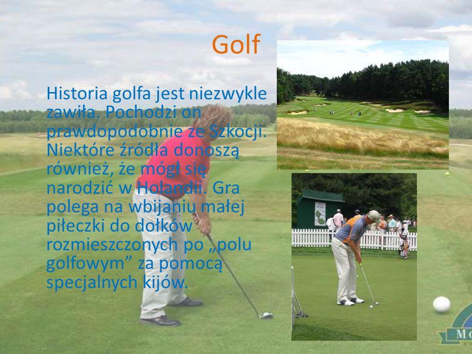 Golf Historia golfa jest niezwykle zawiła. Pochodzi on prawdopodobnie ze Szkocji. Niektóre źródła donoszą również, że mógł się narodzić w Holandii. Gr