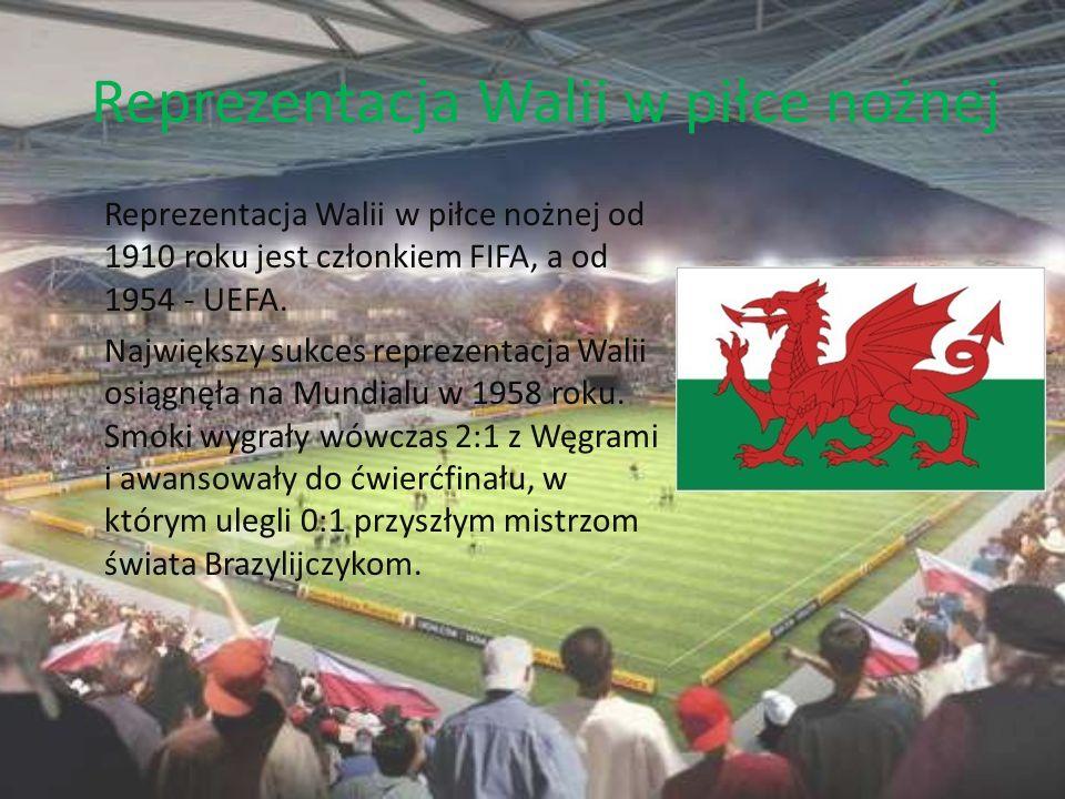 Reprezentacja Walii w piłce nożnej Reprezentacja Walii w piłce nożnej od 1910 roku jest członkiem FIFA, a od 1954 - UEFA. Największy sukces reprezenta