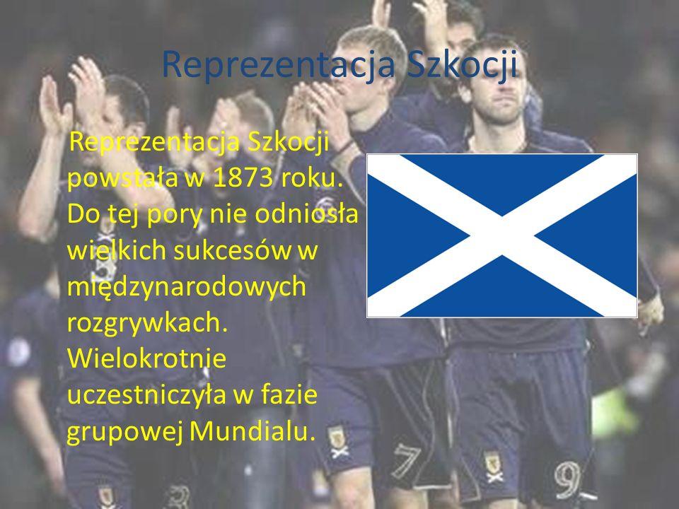 Reprezentacja Szkocji Reprezentacja Szkocji powstała w 1873 roku. Do tej pory nie odniosła wielkich sukcesów w międzynarodowych rozgrywkach. Wielokrot
