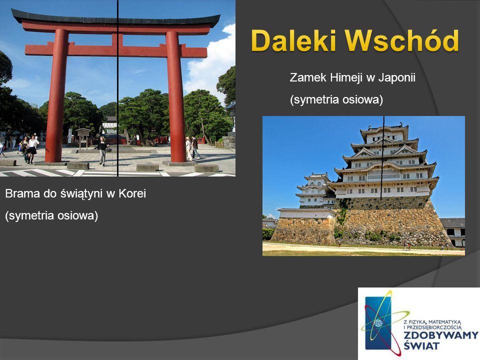 Brama do świątyni w Korei (symetria osiowa) Zamek Himeji w Japonii (symetria osiowa)