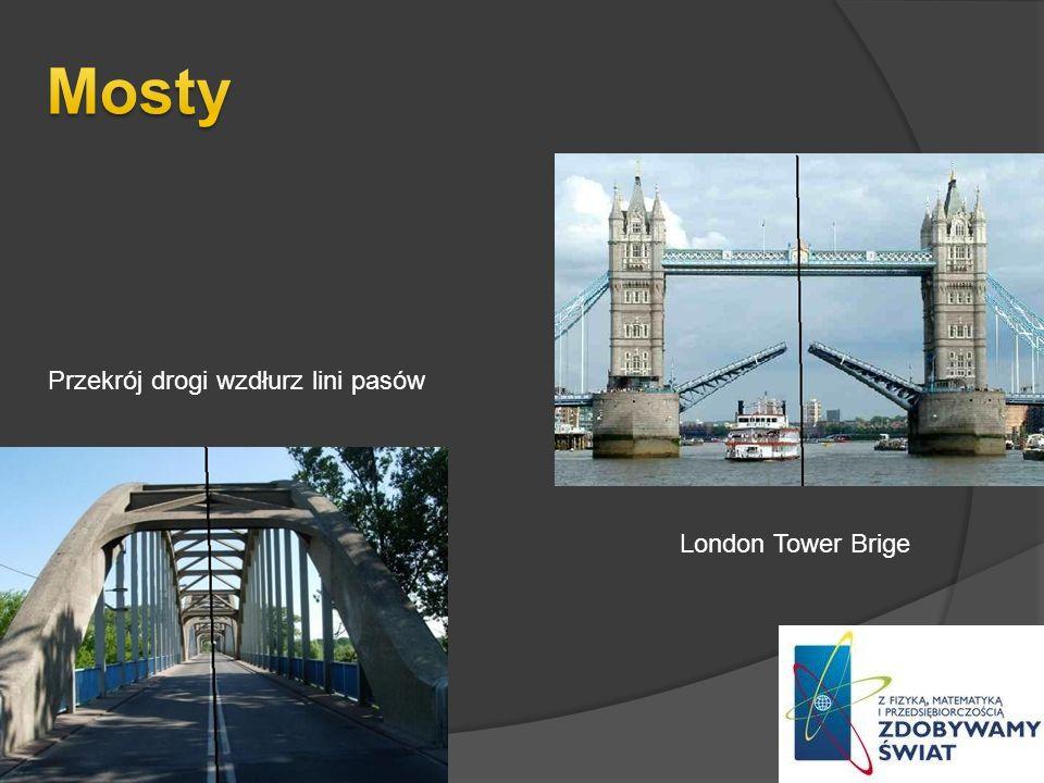 London Tower Brige Przekrój drogi wzdłurz lini pasów