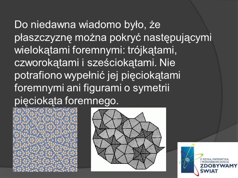 Do niedawna wiadomo było, że płaszczyznę można pokryć następującymi wielokątami foremnymi: trójkątami, czworokątami i sześciokątami. Nie potrafiono wy
