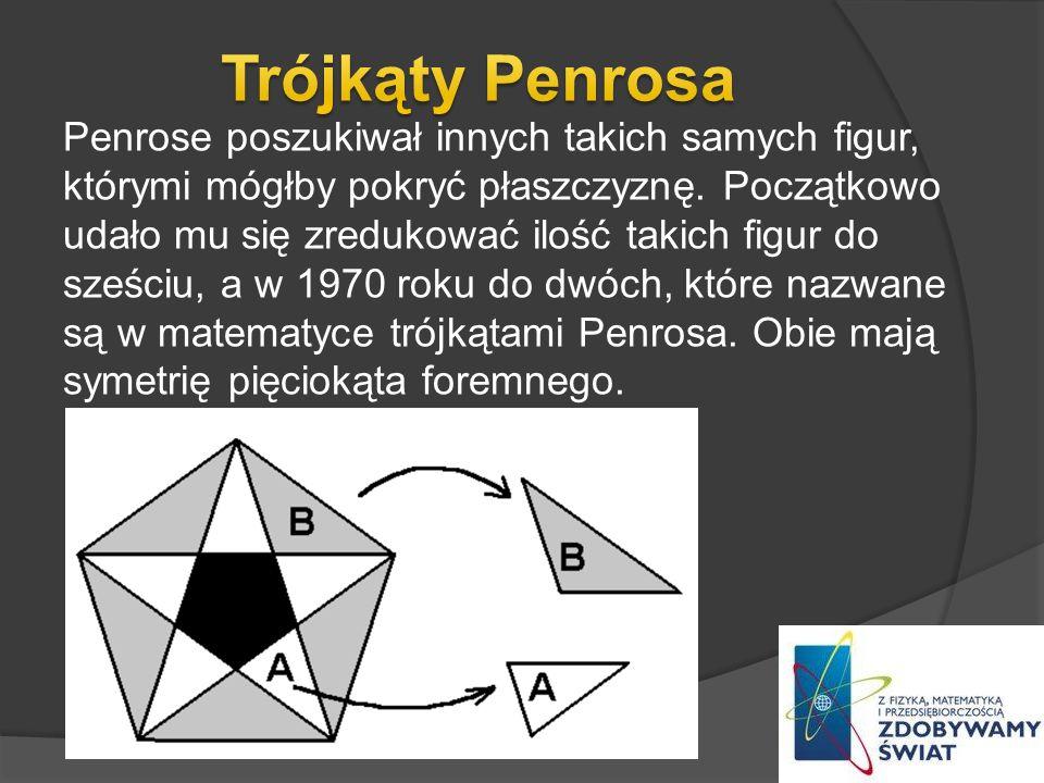 Penrose poszukiwał innych takich samych figur, którymi mógłby pokryć płaszczyznę. Początkowo udało mu się zredukować ilość takich figur do sześciu, a