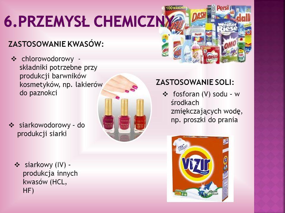 ZASTOSOWANIE KWASÓW: chlorowodorowy - składniki potrzebne przy produkcji barwników kosmetyków, np. lakierów do paznokci siarkowodorowy – do produkcji