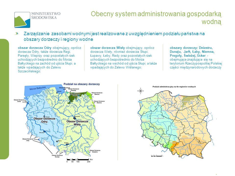 Zarządzanie zasobami wodnymi jest realizowane z uwzględnieniem podziału państwa na obszary dorzeczy i regiony wodne Obecny system administrowania gosp
