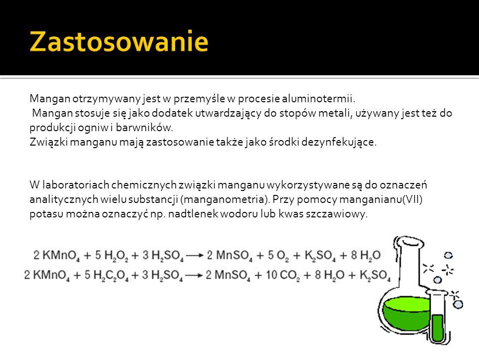 Mangan otrzymywany jest w przemyśle w procesie aluminotermii.