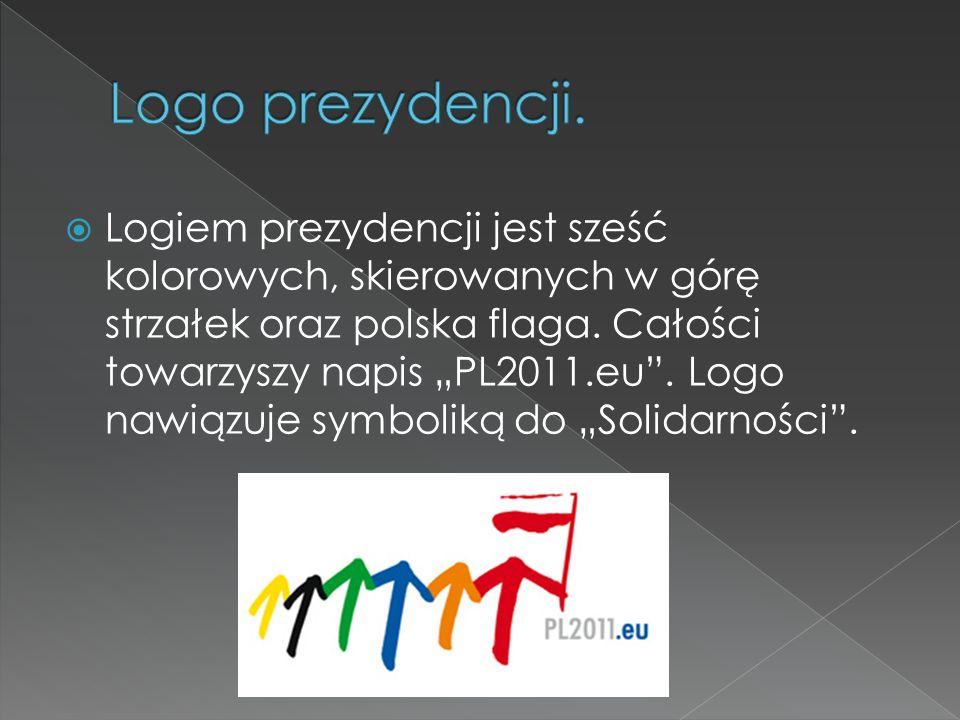 Logiem prezydencji jest sześć kolorowych, skierowanych w górę strzałek oraz polska flaga. Całości towarzyszy napis PL2011.eu. Logo nawiązuje symboliką
