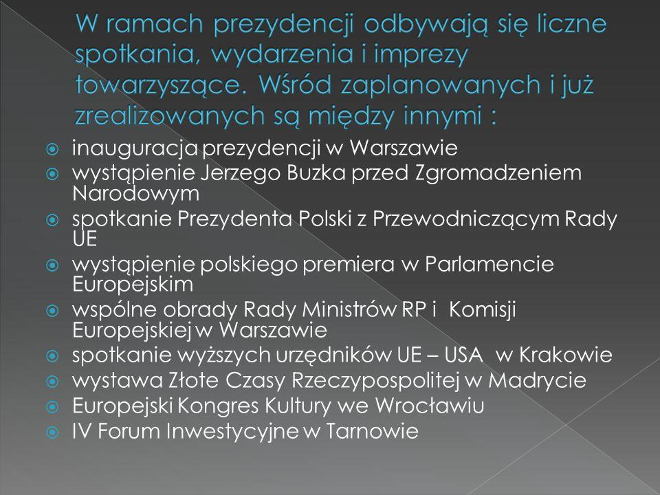 inauguracja prezydencji w Warszawie wystąpienie Jerzego Buzka przed Zgromadzeniem Narodowym spotkanie Prezydenta Polski z Przewodniczącym Rady UE wystąpienie polskiego premiera w Parlamencie Europejskim wspólne obrady Rady Ministrów RP i Komisji Europejskiej w Warszawie spotkanie wyższych urzędników UE – USA w Krakowie wystawa Złote Czasy Rzeczypospolitej w Madrycie Europejski Kongres Kultury we Wrocławiu IV Forum Inwestycyjne w Tarnowie
